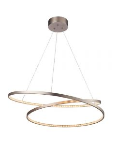 LED Ring Pendant Light In Matt Nickel Plate And Clear Crystal Glass - Dia: 700mm