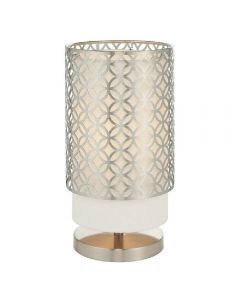 Endon 78727 Gilli 1 Light Table Lamp In Satin Nickel Plate And Vintage White Linen