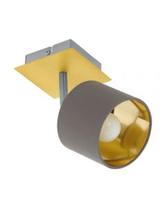 Eglo 97536 Valbiano 1 Light Ceiling Spotlight In Cappuccino And Gold