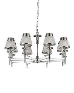 F2379-8 Eight Light Ceiling Multi Arm Pendant Light In Chrome With Textured Glass