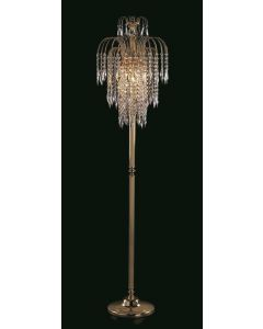 Impex ST01900/FL/G Shower Three Light Floor Light In Gold With Strass Crystals