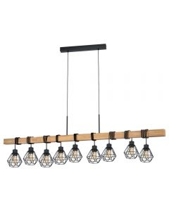 Eglo 43134 Townshend 5 9 Light Linear Ceiling Pendant In Wood With Steel Shades