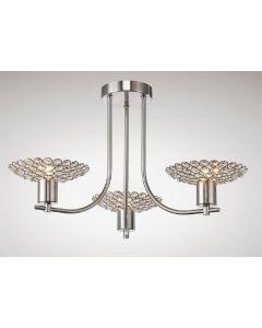 Diyas IL20606 Ellen 3 Light Semi Flush Ceiling Light In Satin Nickel And Clear Crystal