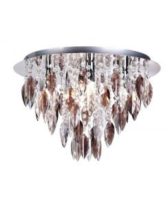 Willazzo 5 Light Flush Ceiling Fitting In Chrome With Smoked Droplets