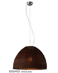 IL60014 Domo 3 Light Chocolate Brown Crinkle Fabric Pendant