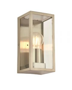 1 Light Exterior Wall Light In Brushed Stainless Steel And Clear Glass