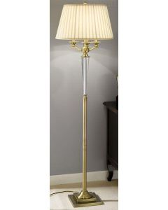 S203 Bronze and Crystal Floor Lamp With Pleated Cream Shade