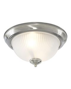 Searchlight 4042 2 Light Flush Ceiling Light With Ribbed Glass In Satin Silver