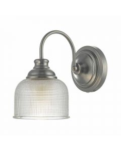 Dar TAC0761 Tack 1 Light Wall Light In Antique Chrome And Glass Shade