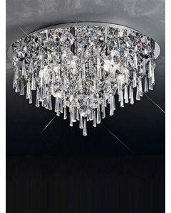 C5718 6 Light Chrome and Crystal Flush Ceiling Light