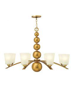HK/ZELDA8 VS Vintage Brass Zelda 8 Light Chandelier with Glass Shades