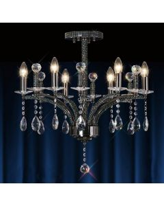 Diyas IL30366 Fiore Black Chrome and Crystal Chandelier