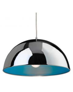 Firstlight 8622 Bistro 1 Light Ceiling Pendant in Chrome and Blue Finish
