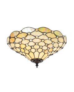 Interiors 1900 70242 Pearl Tiffany 2 Light Semi Flush Ceiling Light