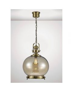 Diyas IL31597 Riley 1 Light Medium Globe Pendant In Antique Brass - Dia: 330mm
