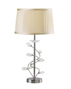 Diyas IL31210/CR Willow 1 Light Table Lamp In Chrome With Cream Shade