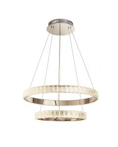 2 Ring Pendant Light In Chrome Plate And Clear Crystal Glass