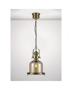 Diyas IL31593 Riley 1 Light Small Bell Pendant In Antique Brass - Dia: 310mm