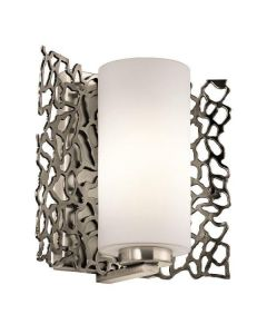 KL/SILCORAL1 Silver Coral 1 Light Wall Light with Glass Shade