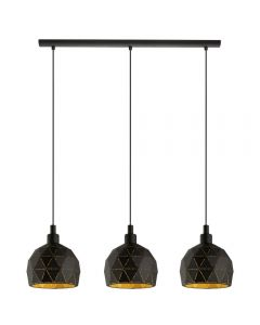 Eglo 97846 Roccaforte 3 Light Ceiling Bar Light In Black And Gold