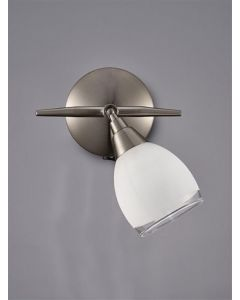 SP8971 1 Light Spotlight In Satin Nickel With Clear Edged White Satin Shades