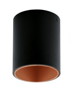 Eglo 94501 Polasso One Light Cylindrical LED Ceiling Light In Black And Copper