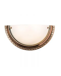 Endon 61238 Athens Frosted Glass Wall Light in Antique Copper Finish