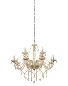 Eglo 39094 Basilano Twelve Light Ceiling Pendant Light In Chrome With Cognac Glass