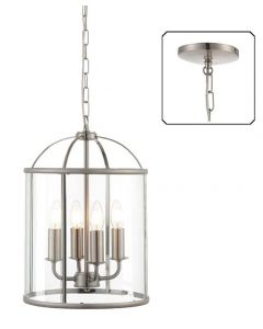 Endon 70324 Lambeth 4 Light Ceiling Pendant In Satin Nickel And Clear Glass