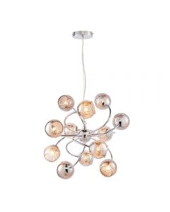 Endon 76315 Aerith 12 Light Ceiling Pendant In Chrome Plate And Mirror Tinted Glass