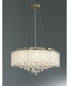 F2346/8 8 Light Ceiling Pendant In Bronze With Crystal Drops