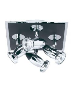 Searchlight 7494 Comet 4 Light Black and Chrome Spotlight