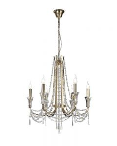 Diyas IL31753 Armand 6 Light Ceiling Pendant In French Gold