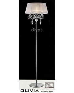 IL30063WH Olivia 3 Light Chrome Floor Lamp with White Shade
