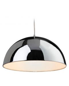 Firstlight 8622 Bistro 1 Light Ceiling Pendant in Chrome and White Finish