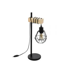 Eglo 43136 Townshend 5 1 Light Table Lamp In Wood With A Steel Shade