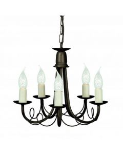 Elstead MN5 BLK/GOLD Minster 5 Light Ceiling Chandelier In Black/Gold - Fitting Only