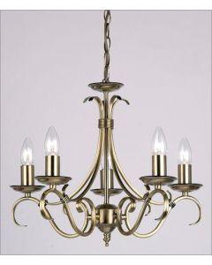 Endon 2030-5AN 5 Light Chandelier In Antique Brass