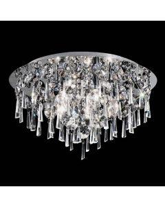 C5717 5 Light Chrome and Crystal Flush Ceiling Light