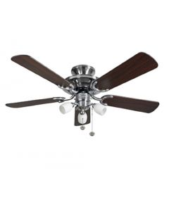 Fantasia 115496 Mayfair 42 In Ceiling Fan In Stainless Steel With Dark Oak Blades And Light