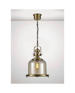 Diyas IL31594  Riley 1 Light Medium Bell Pendant In Antique Brass - Dia: 380mm