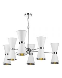 David Hunt Lighting HYD1202C The Hyde 12 Light Ceiling Pendant In Arctic White And Chrome