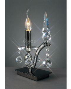 Diyas IL30030 Tara Single Table Lamp in Black Chrome Finish