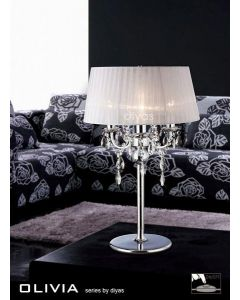 IL30062WH Olivia Chrome Table Lamp with White Shade