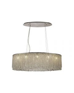Diyas IL31734 Empire 10 Light Oval Pendant Light In Polished Chrome