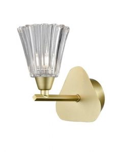 F2377-1 One Light Wall Light In Matt Gold Finish With Clear Glass Shade
