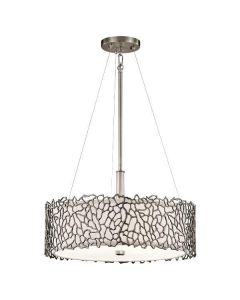 Silver Coral 3 Light Dual Mount Ceiling Pendant Light KL/SILCORAL/P/A