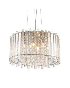 5 Light Ceiling Pendant Light In Chrome Plate And Clear Crystal Glass