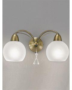 F2278/2 Theo 2 Light Modern Bronze & Crystal Wall Light