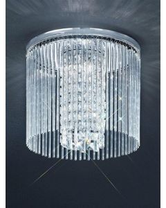 C5727 Large Chrome & Crystal Flush Ceiling Light